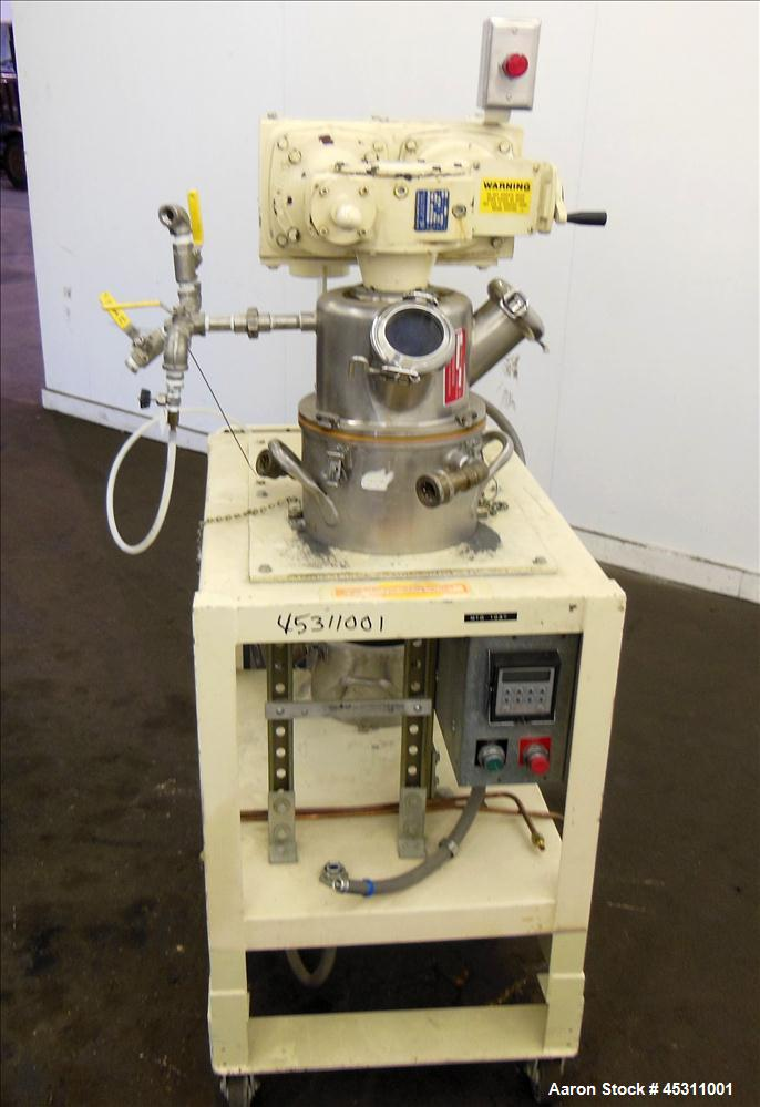 Used- Ross Double Planetary Mixer, Model LDM-1, 304 Stainless Steel.  0.95 Gallon working capacity (1 gallon total). (1) 8-1...