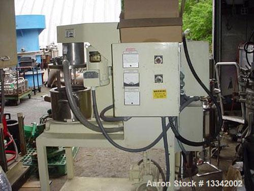 Used-Two Gallon Ross Model PVM 2 Triple Shaft Mixer. Stainless steel construction. (3) 3/4 hp motors for rotor/stator, sweep...