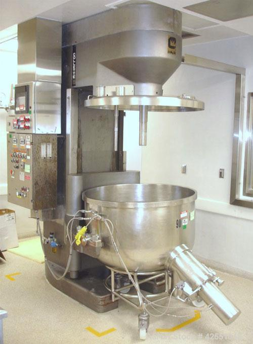 """Used- Collette High Shear Mixer, Model Gral 600. 43"""" Diameter stainless steel non jacketed bowl, plug valve discharge, with ..."""