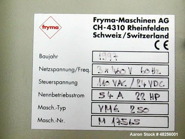 Used- Fryma 250 Liter Planetary Mixer, Model VME-250. 424 Liter total capacity, 250 liter working capacity, 316L stainless s...