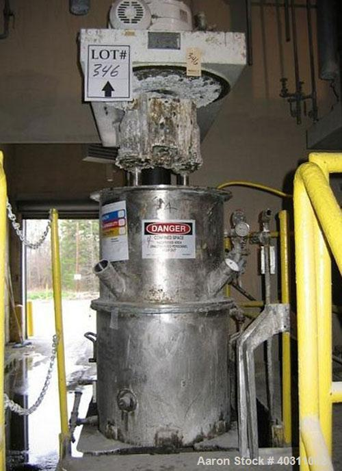 Used-Ross mixer, model HDM- 40 gallon stainless steel, vacuum double planetary mixer with hydraulic lift and stainless steel...