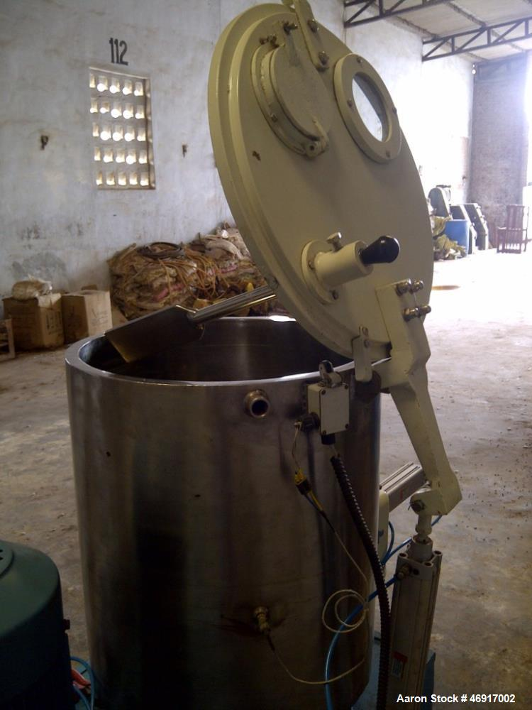 Used- Twist High Speed Mixer, Model HM-130. 316 Stainless steel. 130 liter gross volume capacity, jacketed bowl. 20 hp ABB m...