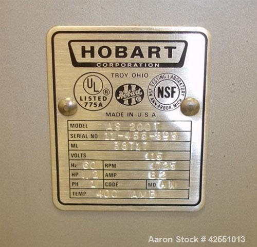 Used- Hobart Mixer, Model AS 200T, 20 Quart. Stainless steel bowl and beater, 1/2 hp, 1/60/115 volt, 1725 rpm motor.