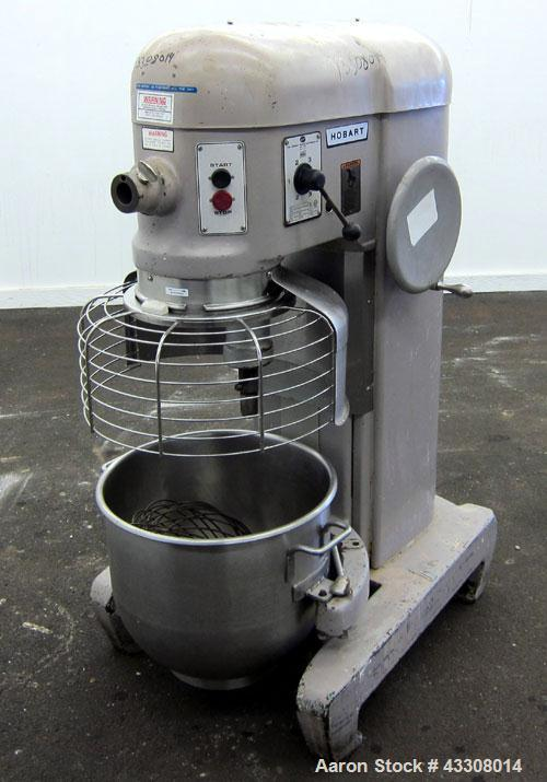 Used- Hobart All Purpose Mixer, Model H-600, 60 Quart Capacity (15 Gallon). (4) Fixed speeds. Includes a wire stainless stee...