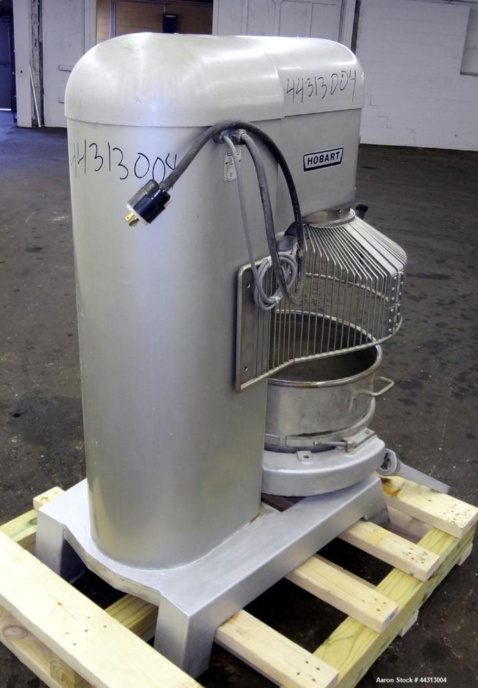 Used- Hobart All Purpose Mixer, Model L-800, 80 Quart Capacity. (4) Fixed speeds. Includes a wire stainless steel bowl guard...