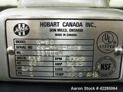 Used- Hobart Mixer, Model N50. Stainless steel construction, 5 quart capacity bowl with beater, serial# 99-219-80.