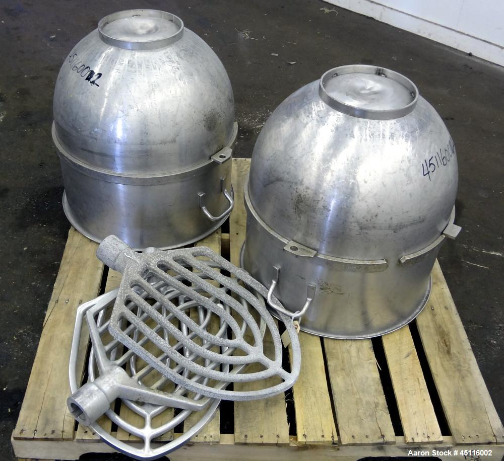 "Used- Hobart 140 Quart Parts Consisting Of: (2) 304 Stainless steel mixing bowls, and (3) ""B"" aluminum flat beaters."