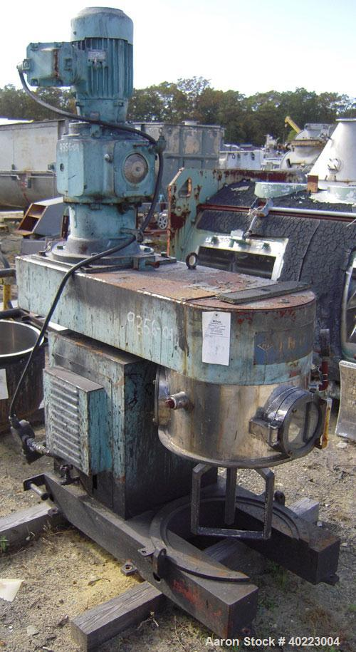 Used- Inoue double planetary mixer, model PLM-V-50-V, stainless steel. Approximately 15 gallon. Driven by a 3.7 kw, 3/60/460...