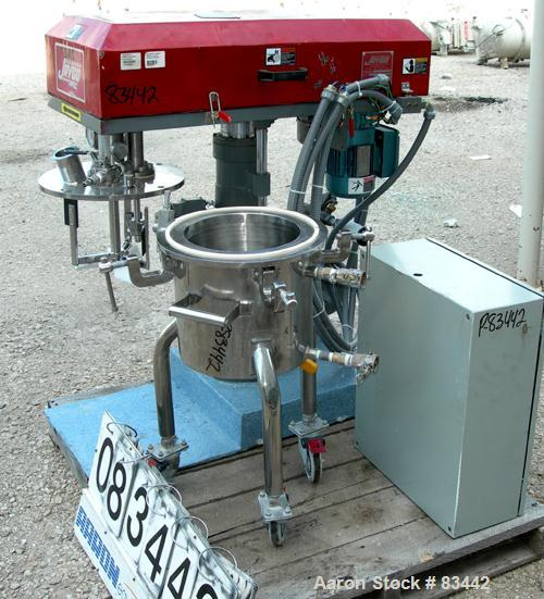 USED: Jaygo Dual Shaft Variable Speed Mixer, model DSVS 1/0.5, 316 stainless steel. Change can design. 2 gallon working capa...