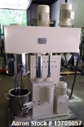 Used- 15 Liter Hongyun Vacuum, Jacketed Double Planetary PowerMixer, Stainless Steel Model DLH-15. 15 Liter working capacity...