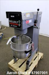 Used- Welbilt Varimixer, 40 Quart (10 Gallon), Model W40. Manual speed range 60-280 rpm. Driven by a 3hp, 3/60/220/440 volt,...