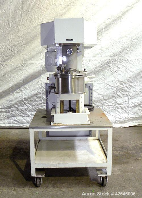 Used- Premier Mill Prem-A-Mix ESD Dual Shaft Disperser, model ESD/1/2, 316 stainless steel. 2 Gallon working capacity, 2-3/4...