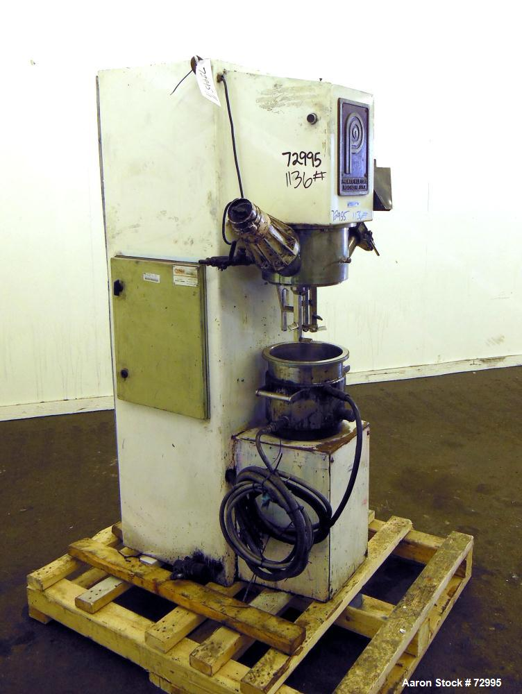 Used- Premier Mill Hidrobat Planetary Mixer, Model HB10, 304 Stainless Steel, 1.5 Gallon Working Capacity, 2.5 Total. Jacket...