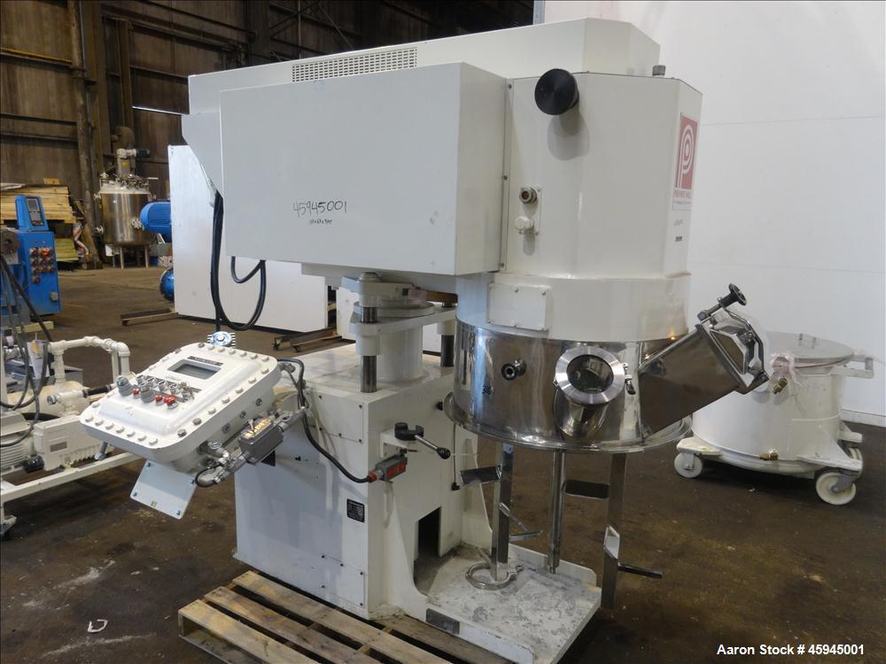 Used- Premier Mill Triple Shaft Hidrobot Planetary Mixer, Model MPVDV-360. Approximately 96 gallon total capacity. 304 stain...