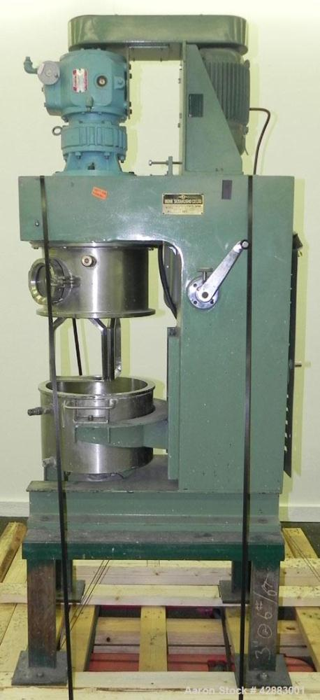 Used- Premier Vacuum Double Planetary Mixer, Model PLM 15, 304 Stainless Steel. Mixing capacity 11 liter (2.91 gallon), 15 l...