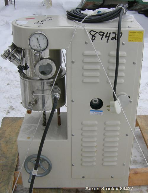Used- Premier Lab Size Vacuum Double Planetary Mixer, Model PLM 1.5, 316 stainless steel. Mixing capacity 1.40 liter (0.38 g...