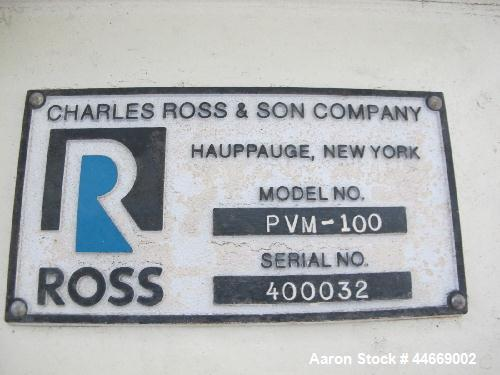 Used- Ross PVM 100 Planetary Mixer. 15 hp, 3 phase, 3/60/75 volt, air over pressure, high speed disperser  and side-scrape a...