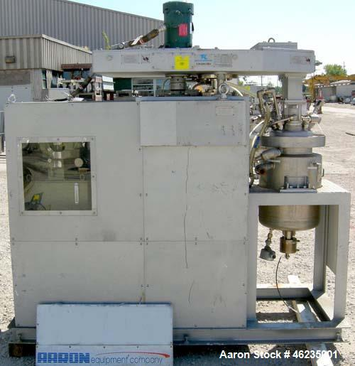 Used- Tokushu Kika Triple Shaft Vacuum Disperser Kneader Combimix Mixer, Model 38L-10, 304 Stainless Steel. Approximately 10...