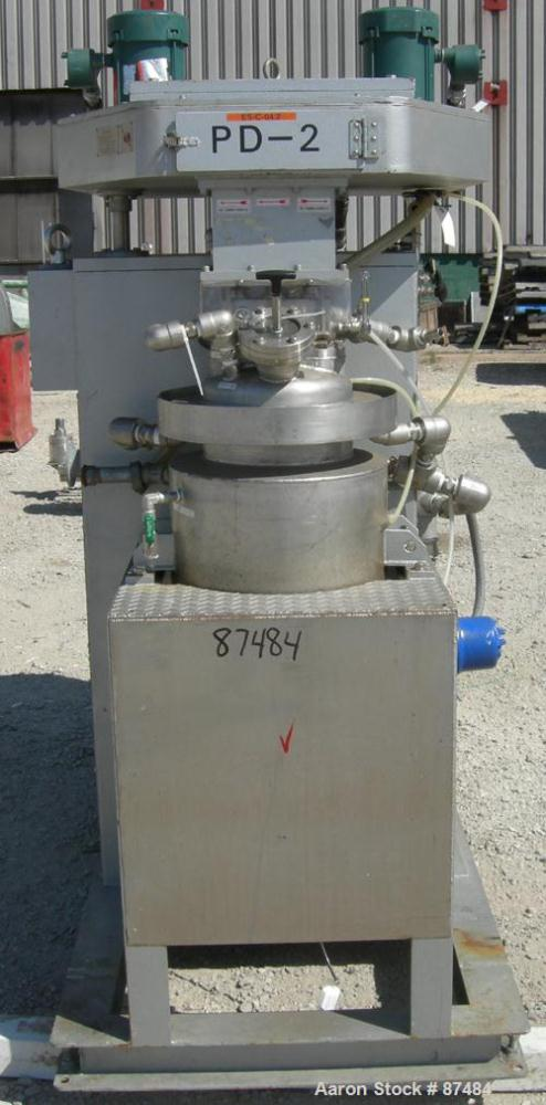 USED: Tokushu Kika Triple Shaft Vacuum Disperser/Kneader Combimix Mixer, model 38L-10, 304 stainless steel. Approximate 10 g...
