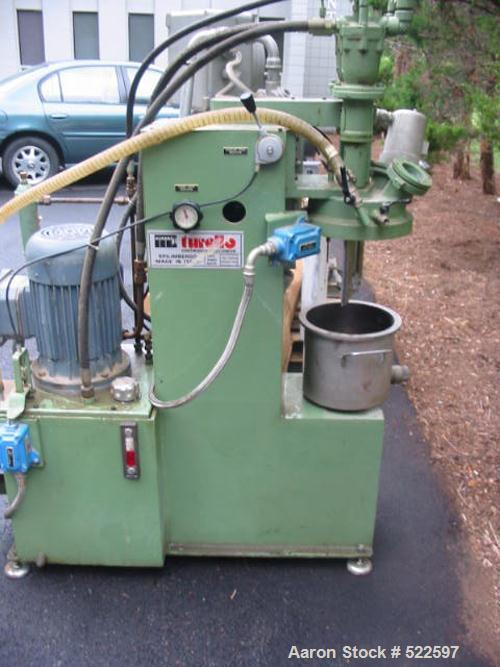 USED: Turello 2.5 gallon vacuum dual shaft mixer, stainless steel, model TMD-10 (5.20.2SV). Dual shaft vacuum mixer with can...