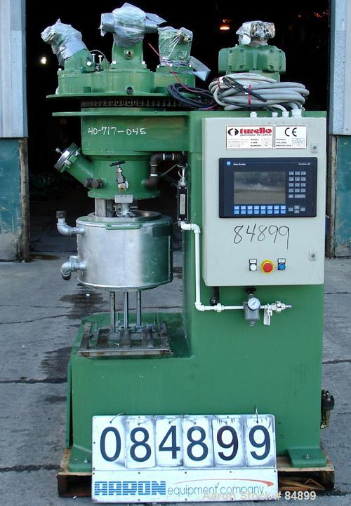 """Used- Turello Planetary Mixer, Model TMD/PL16, 304 Stainless Steel. Approximately 4.2 gallon capacity. 12"""" diameter x 9"""" dee..."""