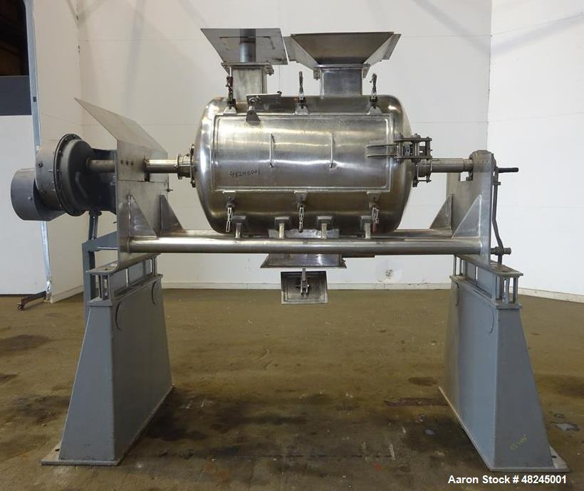 Used- Plow Mixer, Approximately 20 Cubic Feet, 316 Stainless steel.