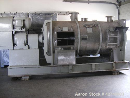 Used-GRA Plow Mixer, stainless steel drum, volume 105 cubic feet (3000 liters), 48 hp/36 kW/50 hz motor, with top connection...