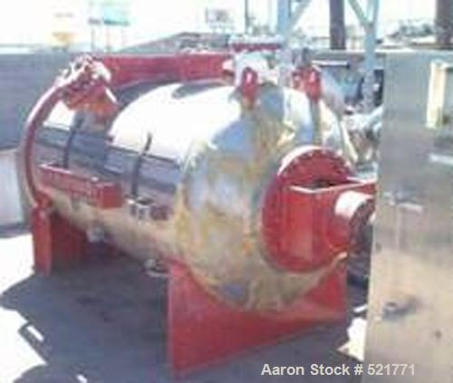 USED: Littleford model DVT-2000 plow mixer. Horizontal chamber with dished ends. Stainless steel contact parts. 42 cubic fee...