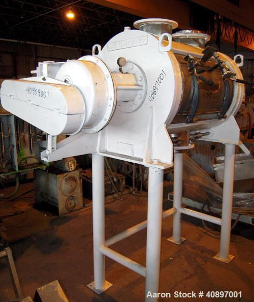 Used- Littleford Batch Type Plow Mixer, model FKM-300-D, 6 cubic feet working capacity, 10 total, 304 stainless steel. Carbo...