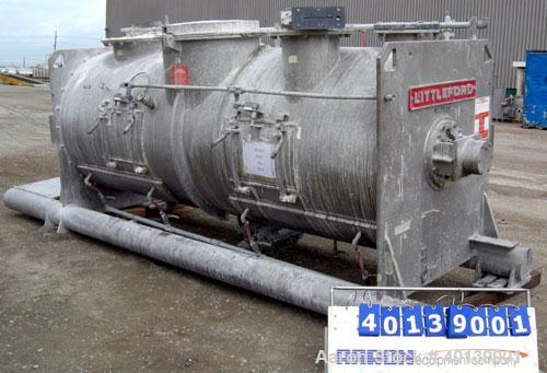Used-  Littleford Plow Mixer, Model FKM-4200D. Batch type, 86.9 cubic feet working capacity, 148.2 total, 316 stainless stee...