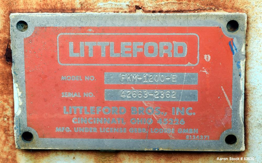 Used- Carbon Steel Littleford Plow Mixer, Model FKM1200E