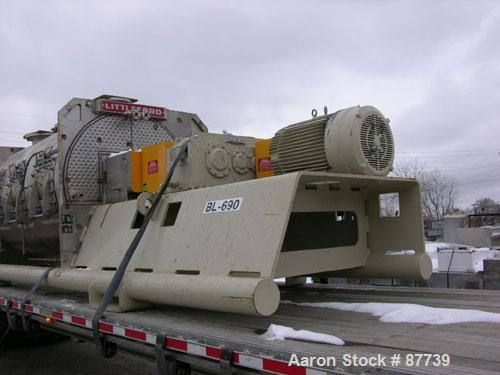 Used- Littleford Plow Mixer, Model KM6000D, 316L Stainless Steel. 148 Cubic foot working capacity (212 Total). Internal rate...