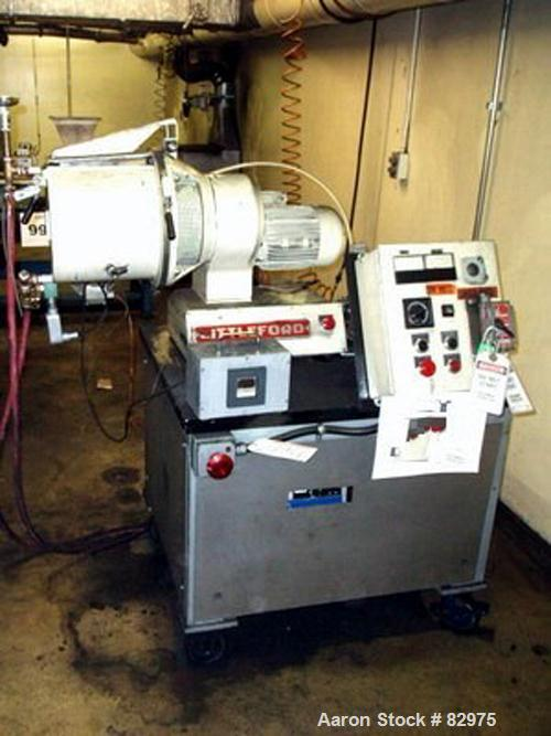 USED: Littleford Lodige lab mixer, model M20-G, stainless steel construction, 20 liter capacity. Jacketed chamber with stand...