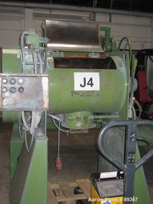 Used- Lodige Batch Type Plow Mixer, Model FM-130-D/1Z, carbon steel. 3 cubic feet working capacity (4.6 total). Chamber appr...