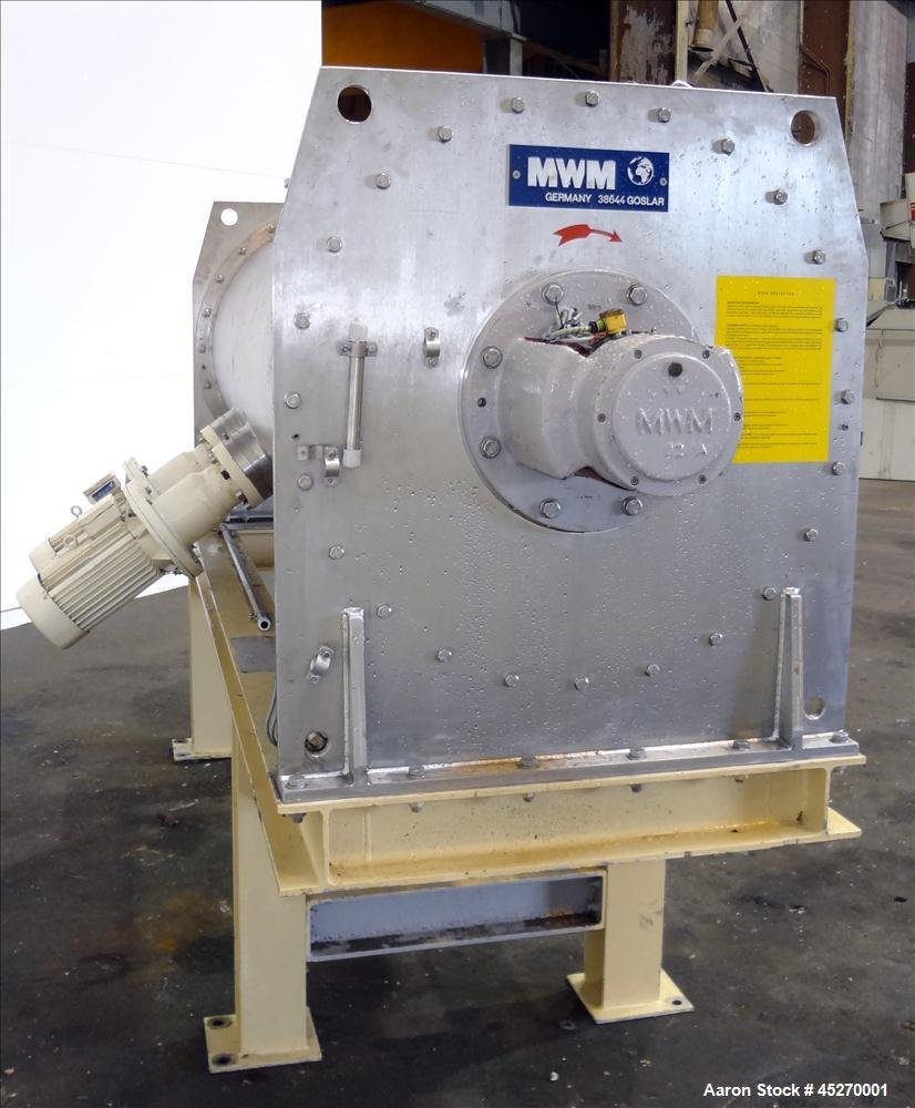 Used- Stainless Steel MWM Continuous Plow Mixer, Model MISCHER-R-1250. Approximately 44 cubic feet (1250 liters)