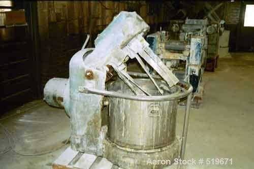 USED: 7.5 hp Hockmeyer variable speed pony mixer with 75 gallonworking capacity tub.