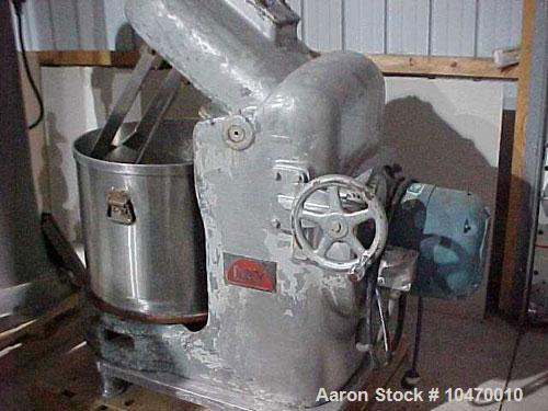 Used-Day Pony Mixer, 40 gallon working capacity; stainless steel contact parts; 3 center mixing blades and 2 close to sides;...