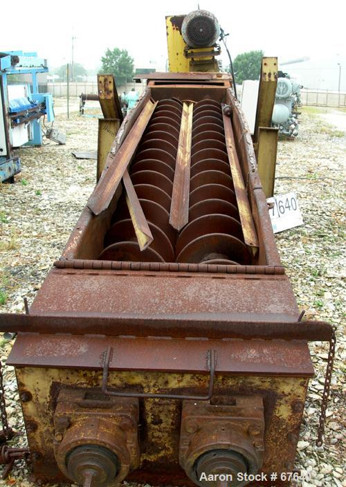 "Used- Davis Pug Mill, Inclined Screw Conveyor, Model S216, Carbon Steel. (2) 16"" Diameter x 13' long screws, 24"" x 33"" wide ..."