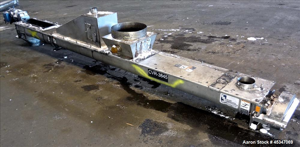 "Used- KWS Continuous Twin Shaft Paddle Mixer/Pug Mill, 304 Stainless Steel. (2) 6"" Diameter x 165"" long shafts with fixed pa..."