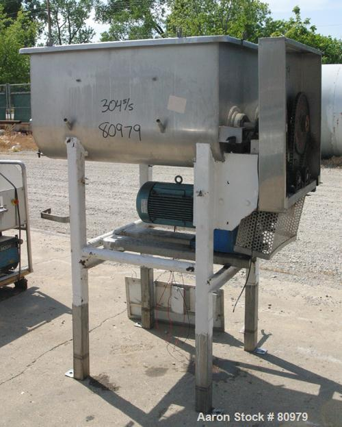 """USED- Twin Screw Mixer, 32 Cubic Feet, 304 Stainless Steel. Non-jacketed trough 36"""" wide x 48"""" long x 20"""" deep. (2) 20"""" diam..."""