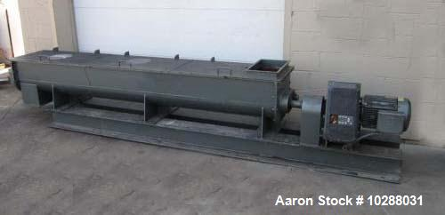 "Used-Patterson Carbon Steel Dual Shaft Pug Mill, 18"" wide x 10' long x 15"" deep"