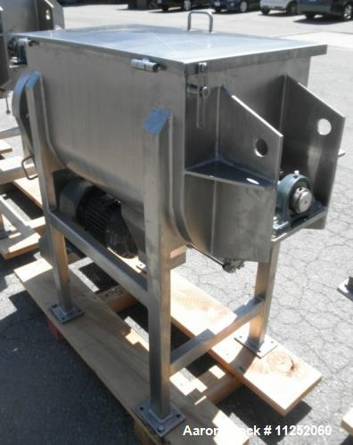 "Unused- New Double Ribbon Mixer. 5 cubic foot working capacity, polished 304 stainless steel contacts. Trough measures 32"" l..."