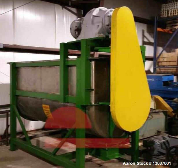 Used- 100 Cubic Foot Stainless Steel Ribbon Mixer. 20 hp drive motor. Unit reported to be reconditioned.