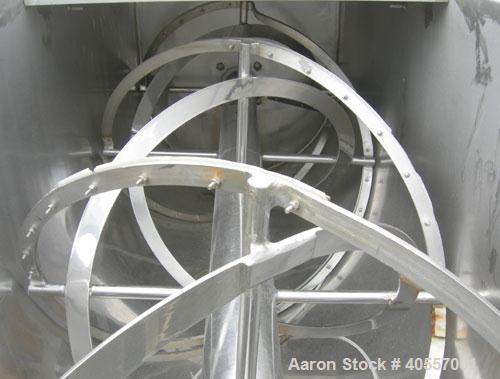 """Used- Double Spiral Ribbon Blender, 64 cubic feet working capacity, 304 stainless steel. Non-jacketed trough 36"""" wide x 96"""" ..."""