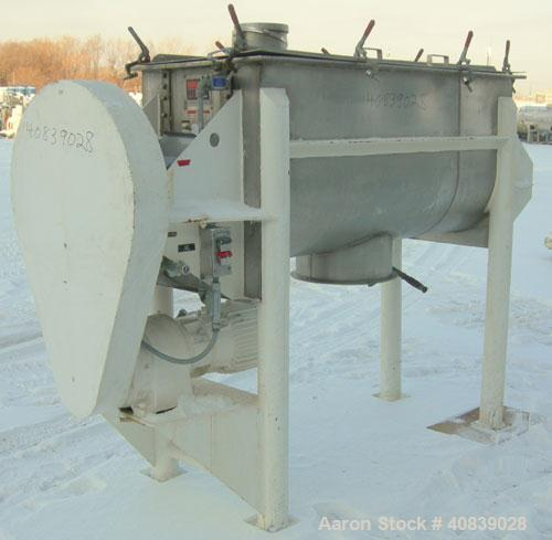 Used:  Aaron Process Double Spiral Ribbon Blender, 24 Cubic Foot Working Capacity, 316 Stainless Steel.  Non-jacketed trough...