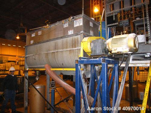 """Used-Ribbon Blender, Approximately  80 Cubic Feet, Stainless Steel, Double Ribbon.  4"""" end bottom outlet.  With cover and gr..."""
