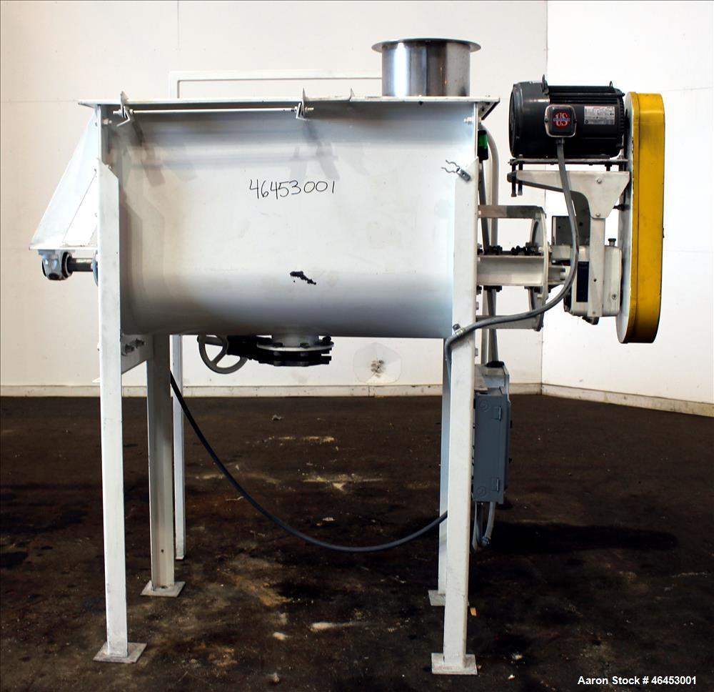 "Used- Double Spiral Ribbon Blender, Approximately 9.6 Cubic Feet, 304 Stainless Steel. Non-jacketed trough 48"" long x 19-3/4..."
