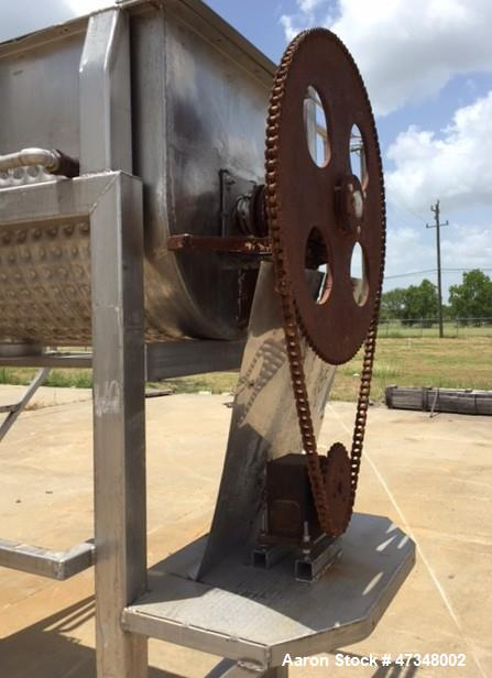 "Used- Double Spiral Ribbon Blender, Approximate 36 Cubic Feet, Stainless Steel. Trough approximately 30"" wide x 78"" long tro..."