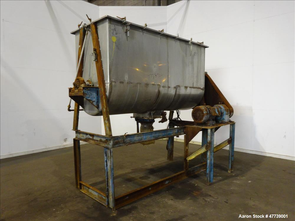 Used- Ribbon Blender, Approximate 70 Cubic Feet, 304 Stainless Steel.