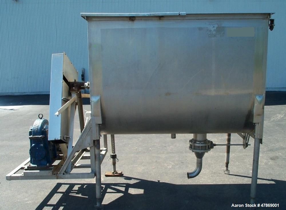 "Used- 100 Cubic Foot, Stainless Steel, Double Ribbon Blender. 48"" wide x 72"" long x 53"" deep mixer vessel. 83"" O.A.H., 6"" of..."